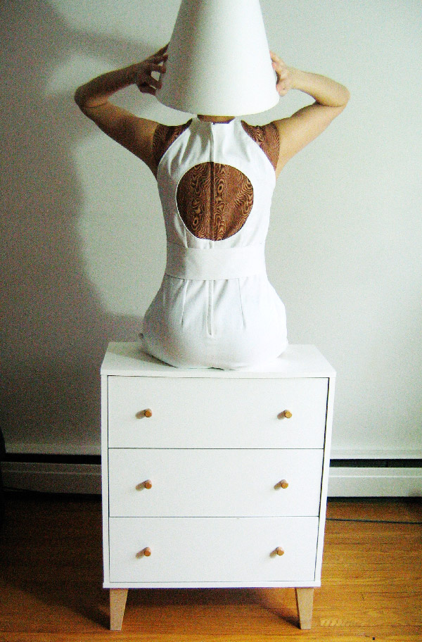 Wooden dress, back view