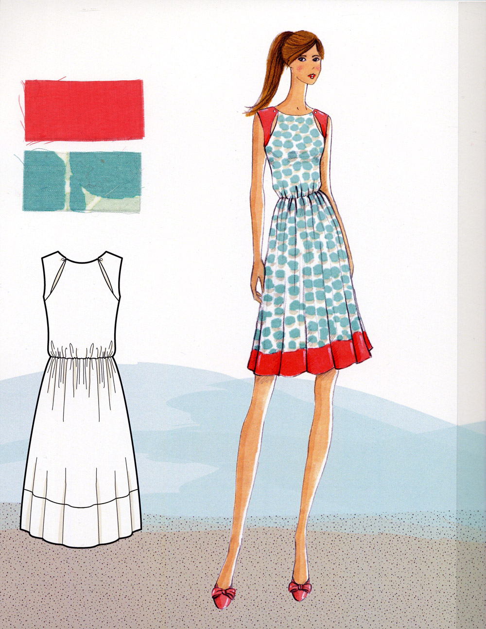 Dress with cutouts in bodice