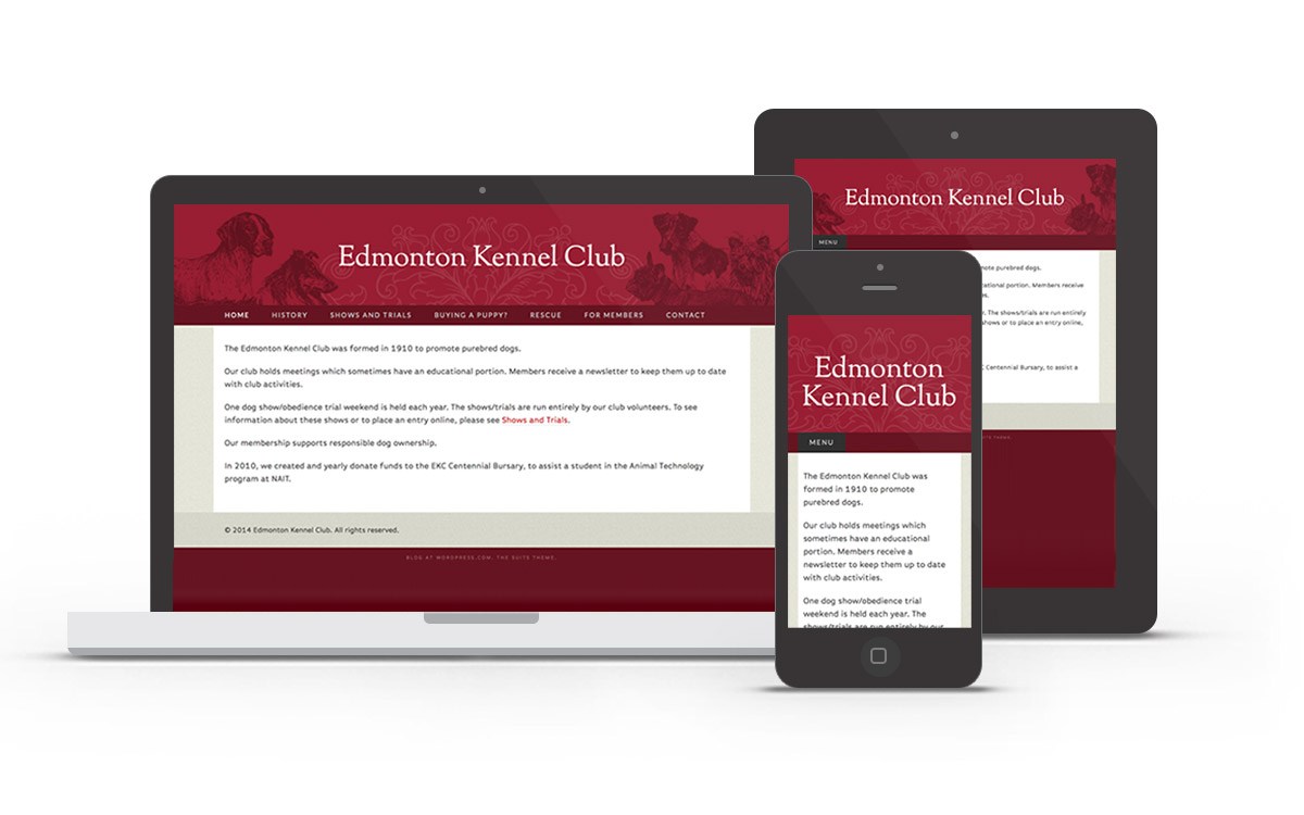 Edmonton Kennel Club desktop, tablet, and mobile views