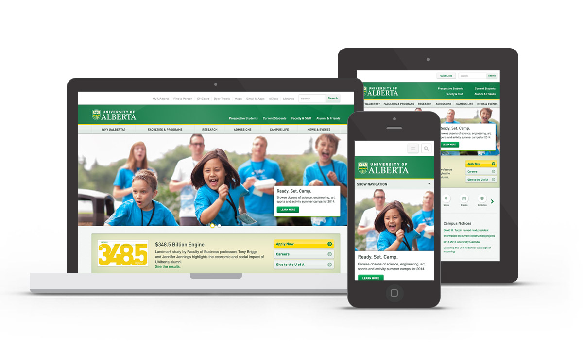 University of Alberta site on desktop, tablet, and mobile