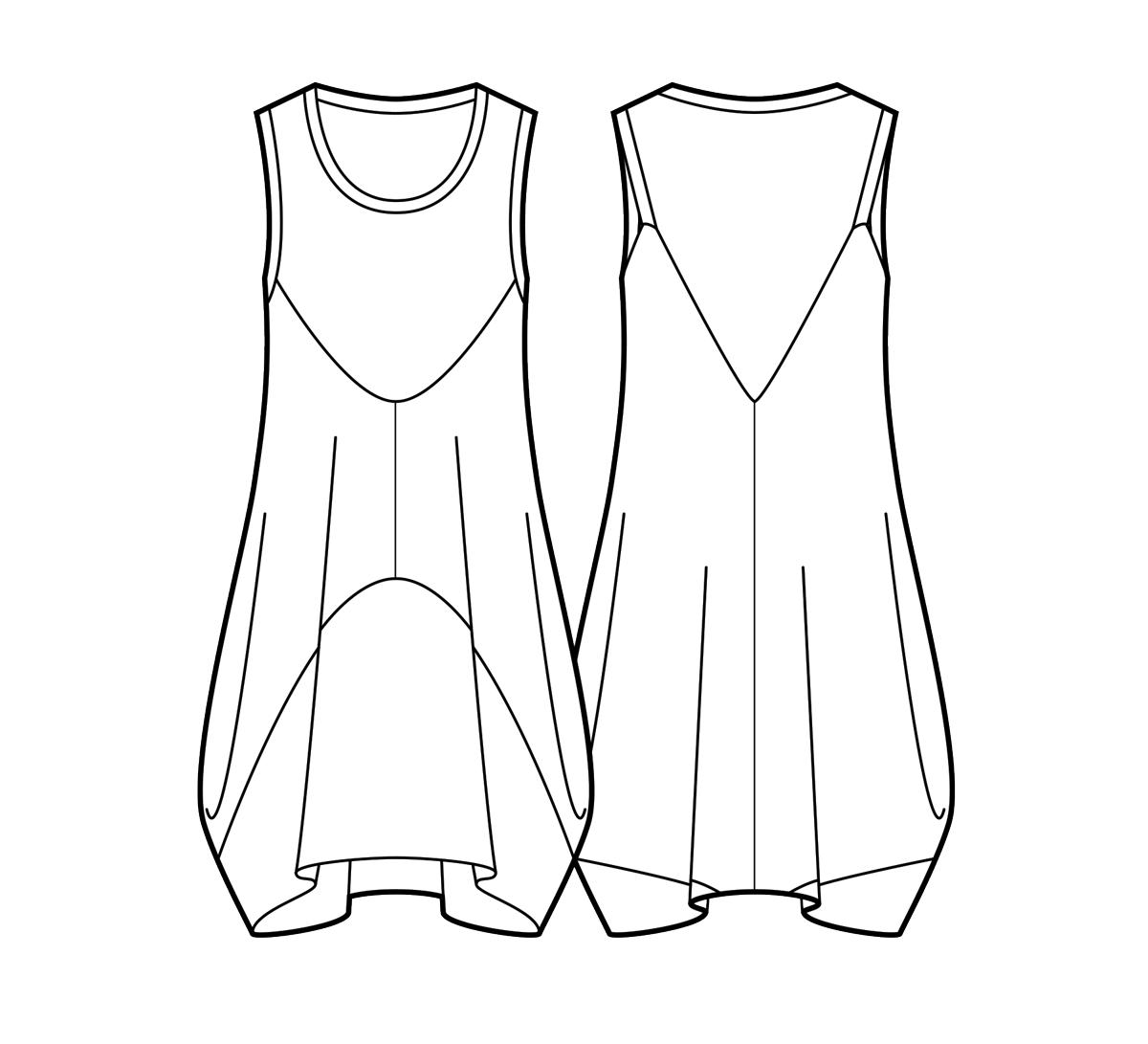 Two-tone bubble hem tank dress