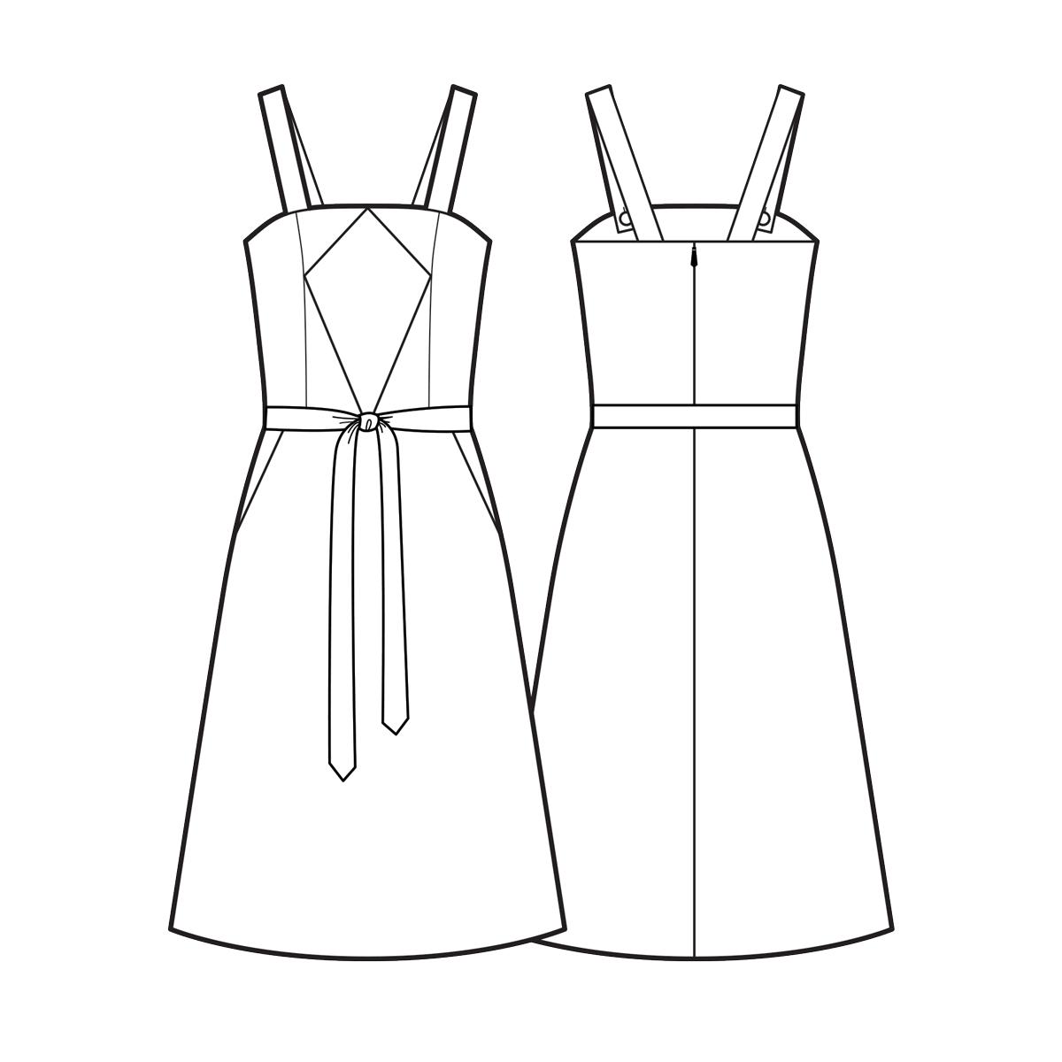 Diamond bodice dress with belt
