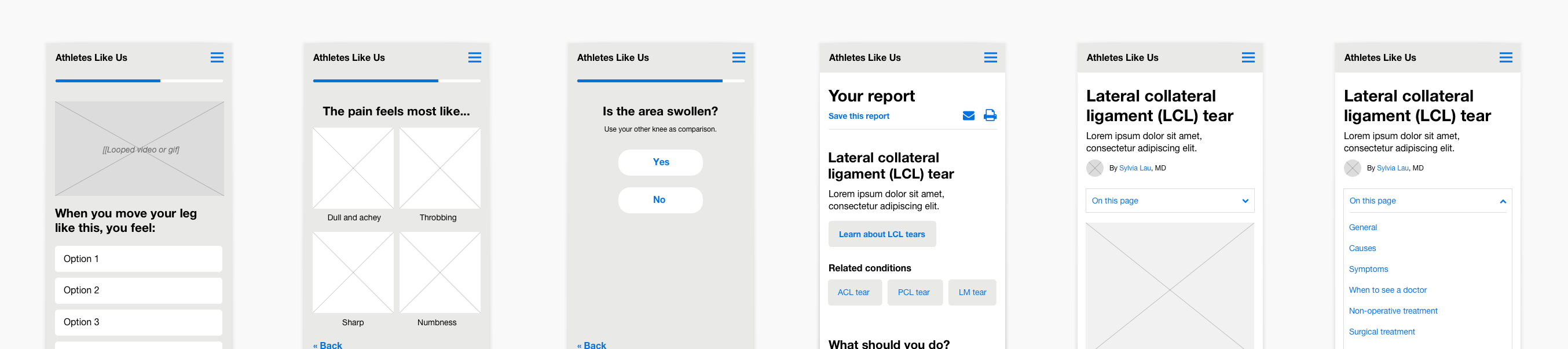 Symptom checker wireframes 2