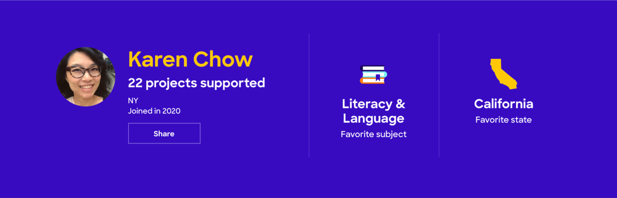DonorsChoose banner with stats