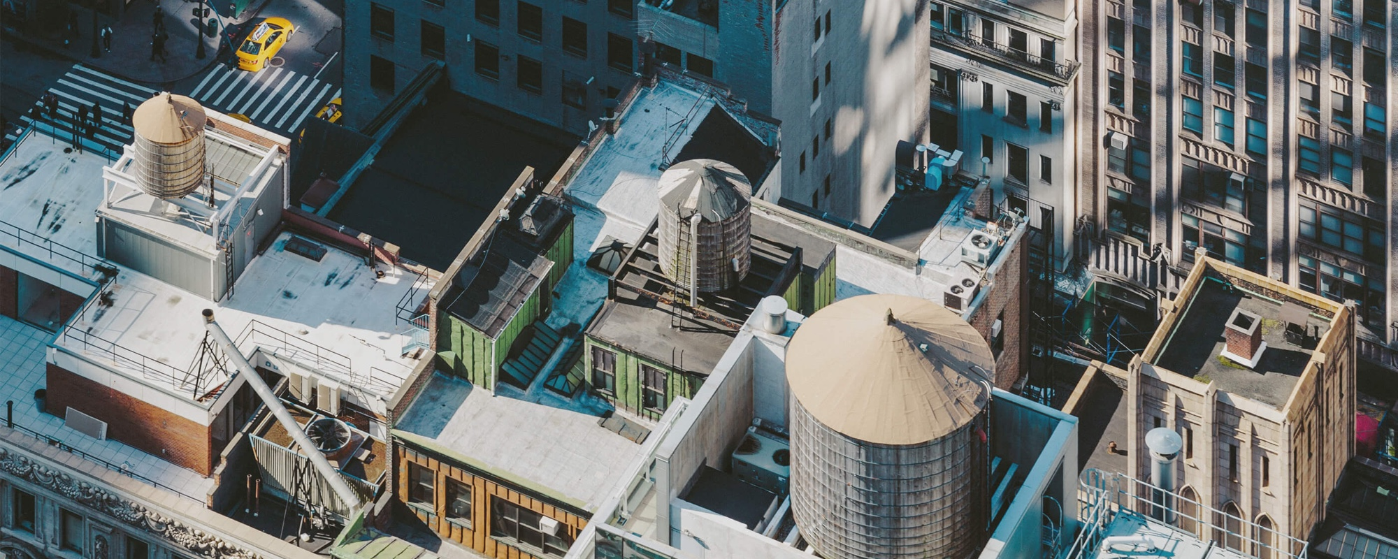 Manhattan rooftops with water towers